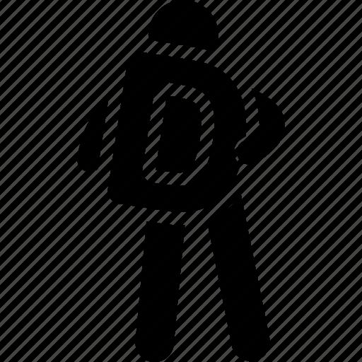 alphabet, d, holding, man icon