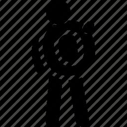 alphabet, holding, man, o icon