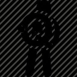 alphabet, holding, man, q icon
