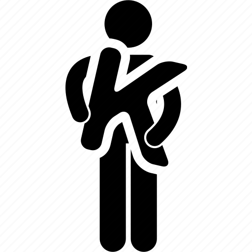 alphabet, holding, k, man icon