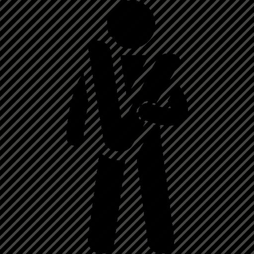 alphabet, holding, man, v icon