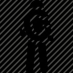 alphabet, c, holding, man icon