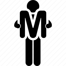 alphabet, holding, m, man icon