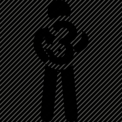 holding, man, number, three icon