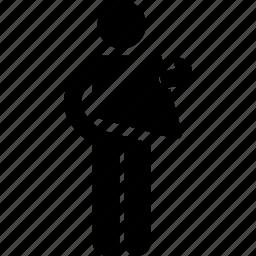 holding, man, shape, triangle icon