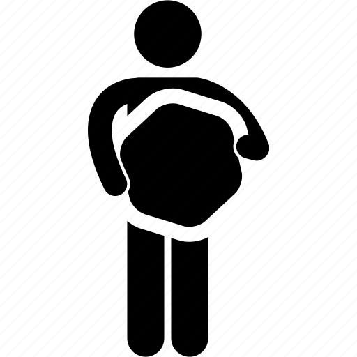 hexagon, holding, man, shape icon