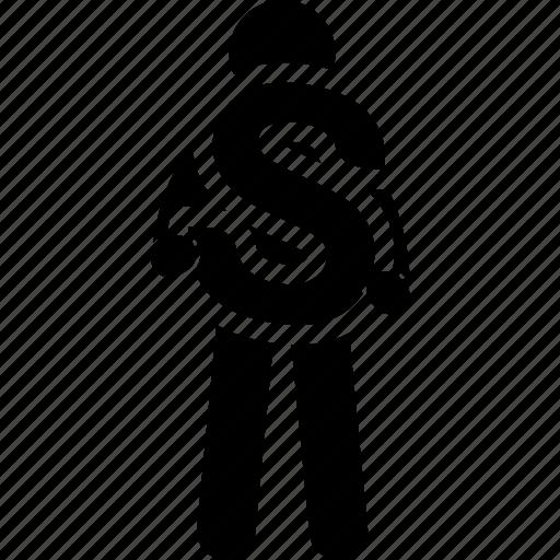 alphabet, holding, man, s icon