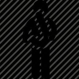 alphabet, holding, j, man icon