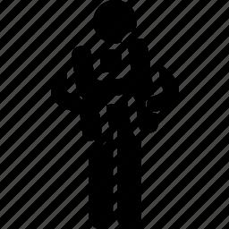 alphabet, display, h, holding, man, showing icon