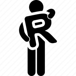 alphabet, holding, man, r icon