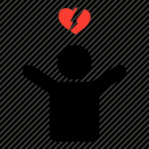 break up, heart, heartbreak, man, minimal, single, valentine icon
