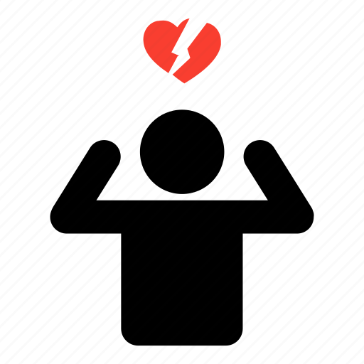 break up, heart, heartbreak, man, minimal, single, valentine icon