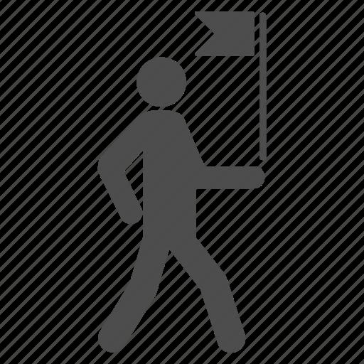 businessman, commander, flag carrier, guide, leader, management, manager icon