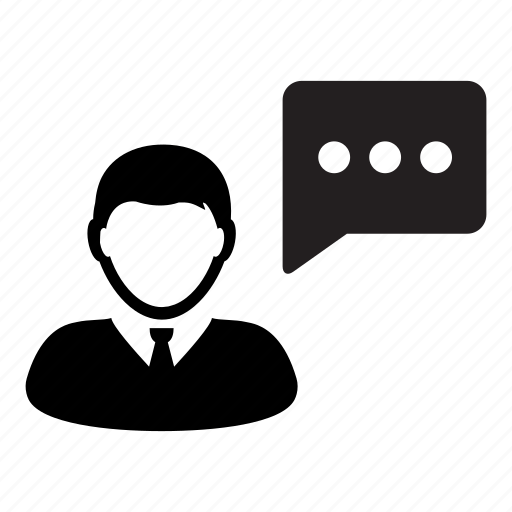 bubble, business, businessman, chat, man, person, speech icon