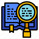 book, business, knowledge, library, research icon