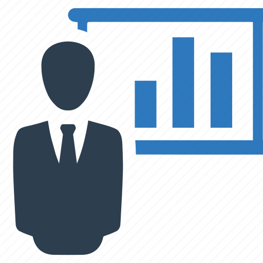 analytics, man, presentation, statistics icon
