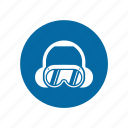 factory, gogle, industrial, instruction, mandatory, safety, signs icon