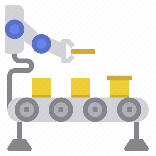 automation, conveyor, industry, lean, manufacturing, packing, robot icon