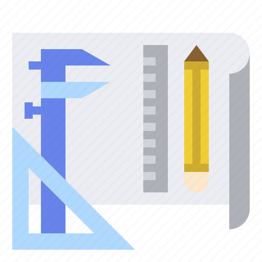 bluprint, caliper, design, manufacturing, plan, production, vernier icon