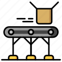 box, boxing, conveyor, delivering, manufacturing icon