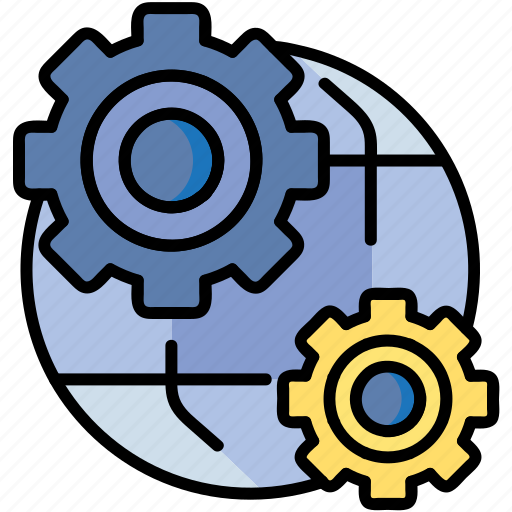 cog, gears, globes, setting, world icon