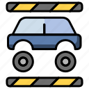 car industry, car manufacturing, car repairing, industry, machine icon