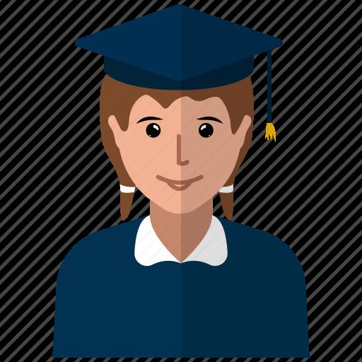academic degree, academician, graduation cap, lecturer, professor, teacher, woman icon