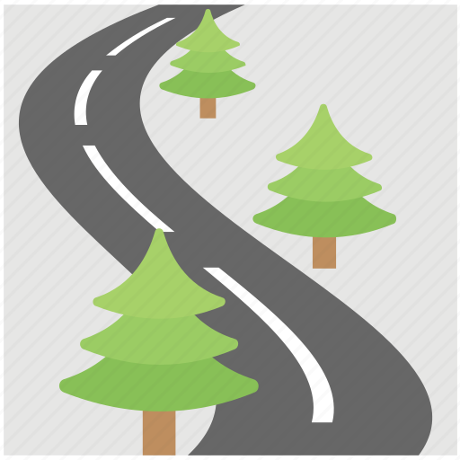 road through forest, roadway, rural road, winding road icon