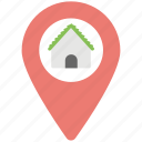home inside pin, home location, housing area, location map pin, residential pin icon