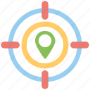 traveling concept, geo targeting, tourism, navigation pointer with crosshair, location target icon