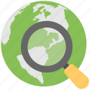 global location search, globe with magnifier, find location, global view, discovery icon