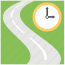 highway, journey, road and clock, speedway, travel time icon