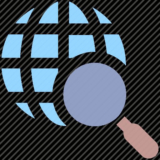 earth, explore, find, globe, magnifier, search, search engine, seo, world icon