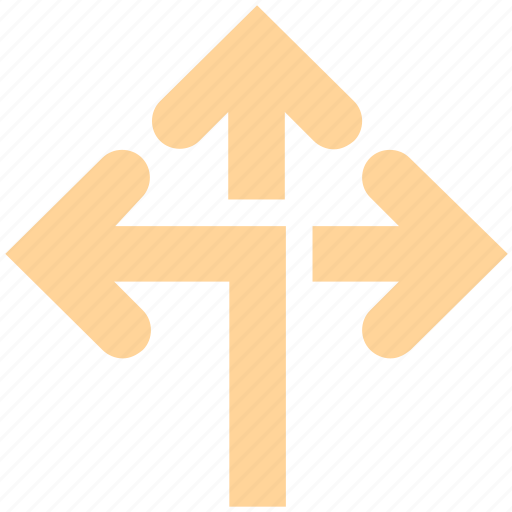 arrows, direction, navigation, road direction icon