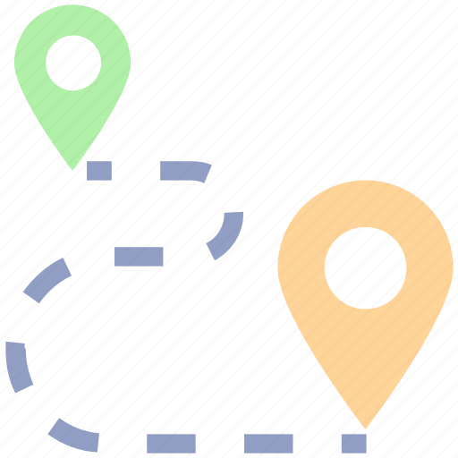 direction, distance, gps, location, map, marker, navigation, pin, point, route location icon