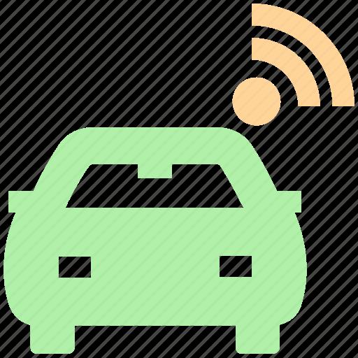 car, driverless, internet, self, signal, smart car, transport, vehicle, wifi icon