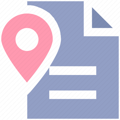 document, file, location, map, map pin, navigation, page, paper map, plan icon