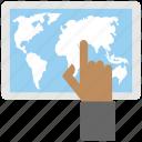 digital tablet world map, finger touching world map, geolocation, globalization representing, online navigation