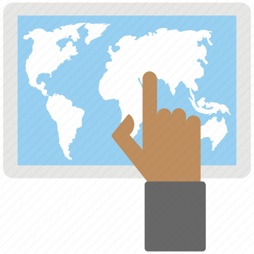 digital tablet world map, finger touching world map, geolocation, globalization representing, online navigation icon