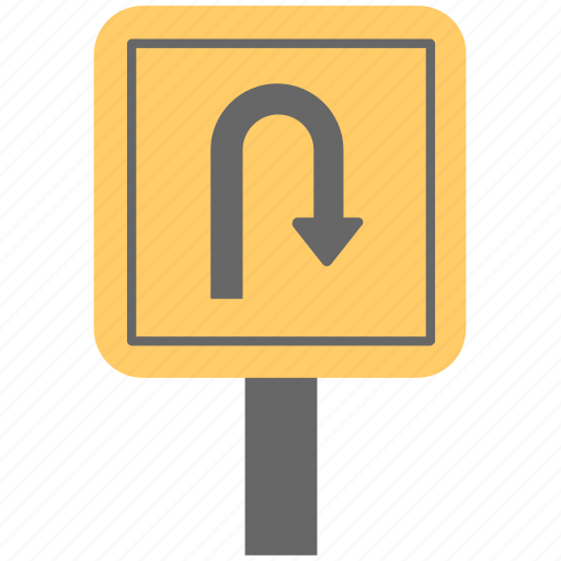 arrow turn, road guid, road sign, traffic guide, u turn sign icon