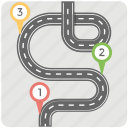 curving road, gps, navigation concept, road map, roadway icon