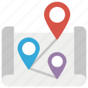 geolocation, gps navigation, location markers, location pins, location pointers icon