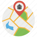 address, home location, house, location finder, location pin, location pointer, personal location icon