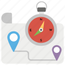 cardinal directions, compass rose, location compass, map with compass, navigation and orientation, magnetic needle icon