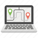 app gps, geo targeting, laptop gps, navigation app, web maps icon