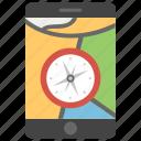 gadget, geography, navigation app, phone compass, smart app, technology, travel app icon