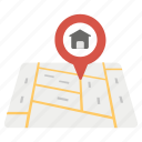 find a building, home address, home location, house, personal location. icon