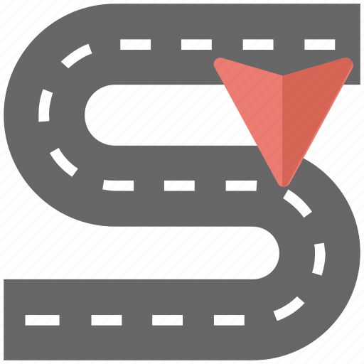 curving road, road tracking, road tracking map, roadside, winding road icon