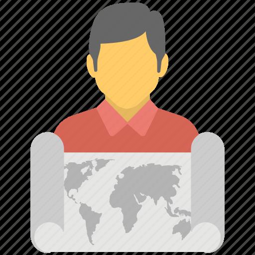 cartographer, cartography, gps survey, map maker, topography icon