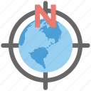 cardinal directions, global destination, global directions, globe crosshair, world tour icon